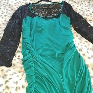 TORRID Green and Black Lacy Dress